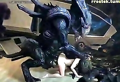 Zero-Suit Samus Aran Dominated by Xenomorph Dick
