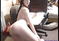 Busty girl with sexy ass and pigtails teasing