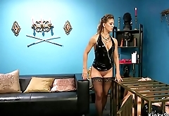 Milf mistress dominates her new sex toys