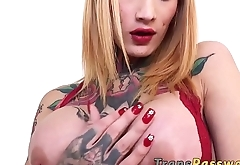 Busty tranny with a big round booty solo masturbates