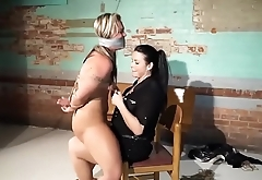 bdsm rough sex - Big Blonde british teen fucked with big strapon - WWW.GIFALT.COM - bondage fetish