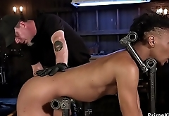 Slim ebony slut ass caned and whipped