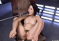 Solo hairy brunette fucking machine