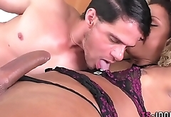 Ebony tgirl gets a facial