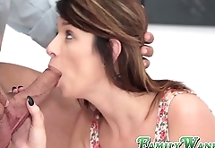 Busty stepmom and skinny stepdaughter have an anal threeway