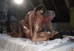 My twin sister and I both fuck an old man we let him fuck our pussies hardcore and we swallow his cumshot