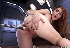 Long haired redhead fucking machine
