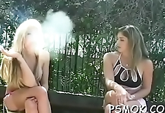 Biggest bust on this chick who likes to smoke and get soaked